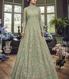 Parrot Green Embroidered Net Semi Stitched Salwar With Dupatta