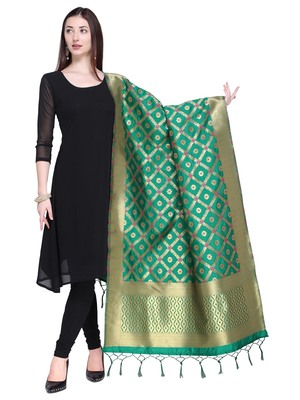 Green Color Poly Silk Banarasi Print Women'S Dupatta