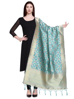 Blue Color Poly Silk Banarasi Print Women's Dupatta