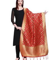 Red Color Poly Silk Banarasi Print Women's Dupatta