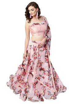 520b1cb495 Inddus Pink Art Silk Solid Unstitched Top and Pink Chiffon Floral Printed  Semi Stitched Skirt with
