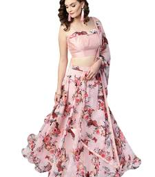 Inddus Pink Art Silk Solid Unstitched Top And Pink Chiffon Floral Printed Semi Stitched Skirt With Chiffon Dupatta