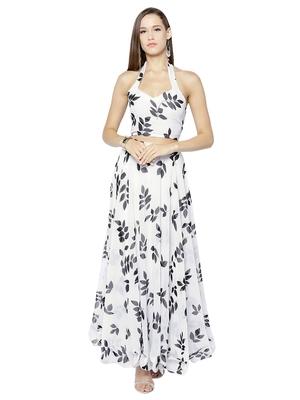 9c2ee870e8e Inddus Black   white Georgette Printed Semi Stitched Lehenga Choli - Inddus  - 2777400