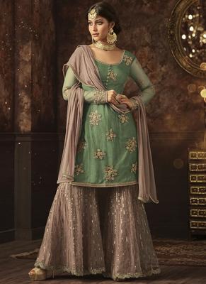 Sea green embroidered net semi stitched salwar with dupatta