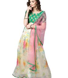 Inddus Green Brocade Self Design Unstitched Top and Off White Organza Printed Semi Stitched Skirt with Solid Net Dupatta