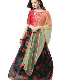 Inddus Pink Brocade Self Design Unstitched Top and Dark Green Organza Printed Semi Stitched Skirt with Solid Net Dupatta