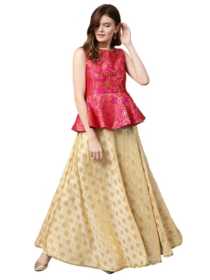 Inddus Pink Art Silk Woven Unstiched Top With Cream Art Silk Woven Semi Stitched Skirt