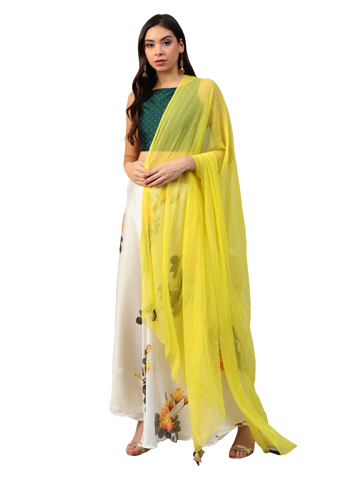 828019359b2 Inddus Green Art Silk Unstitched Top and Off White   Yellow Satin Printed Semi  stitched Skirt with Solid Net Dupatta - Inddus - 2777418