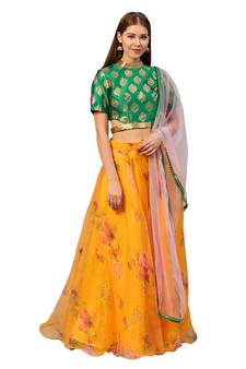 f86f919c1db Inddus Green Brocade Self Design Unstiched Top and Mustard Organza Printed  Semi Stitched Skirt with Solid