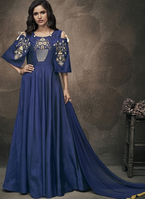 Royal blue embroidered silk stitched salwar with dupatta