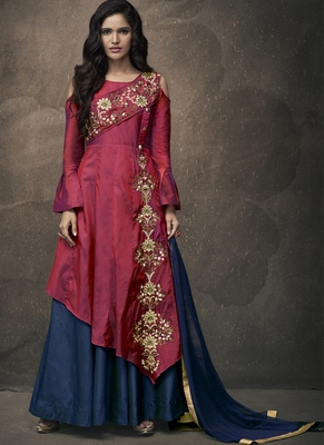 Red Embroidered Silk Blend Stitched Salwar With Dupatta
