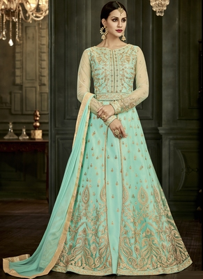 Lime embroidered silk blend semi stitched salwar with dupatta