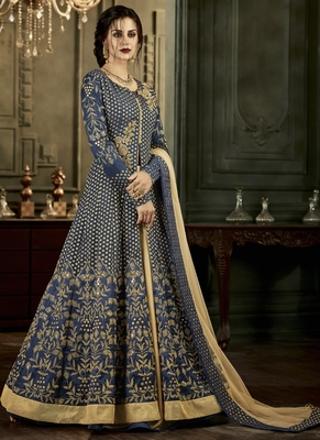 Navy blue embroidered silk blend semi stitched salwar with dupatta