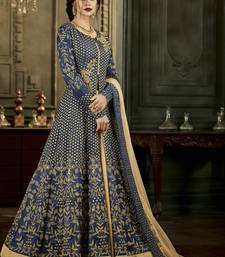 Navy blue embroidered silk blend semi stitched salwar with dupatta
