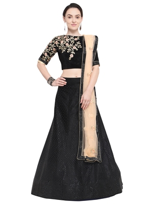 f7c6425ad77 Aasvaa Black Color Velvet Embroidered Semi-Stitched Lehenga Choli - AASVAA  FASHION - 2777449