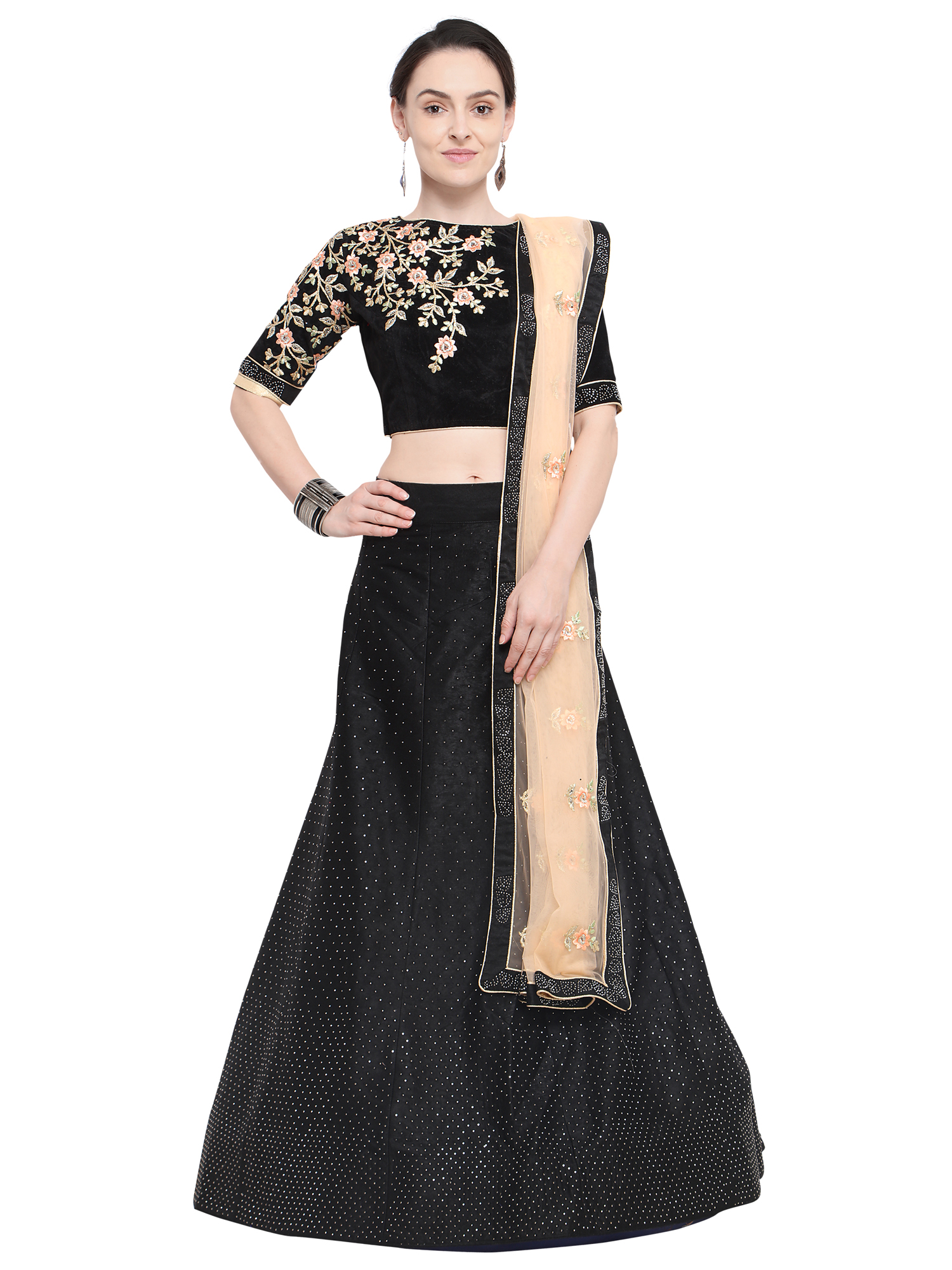 7f31cf8056 Aasvaa Black Color Velvet Embroidered Semi-Stitched Lehenga Choli - AASVAA  FASHION - 2777449