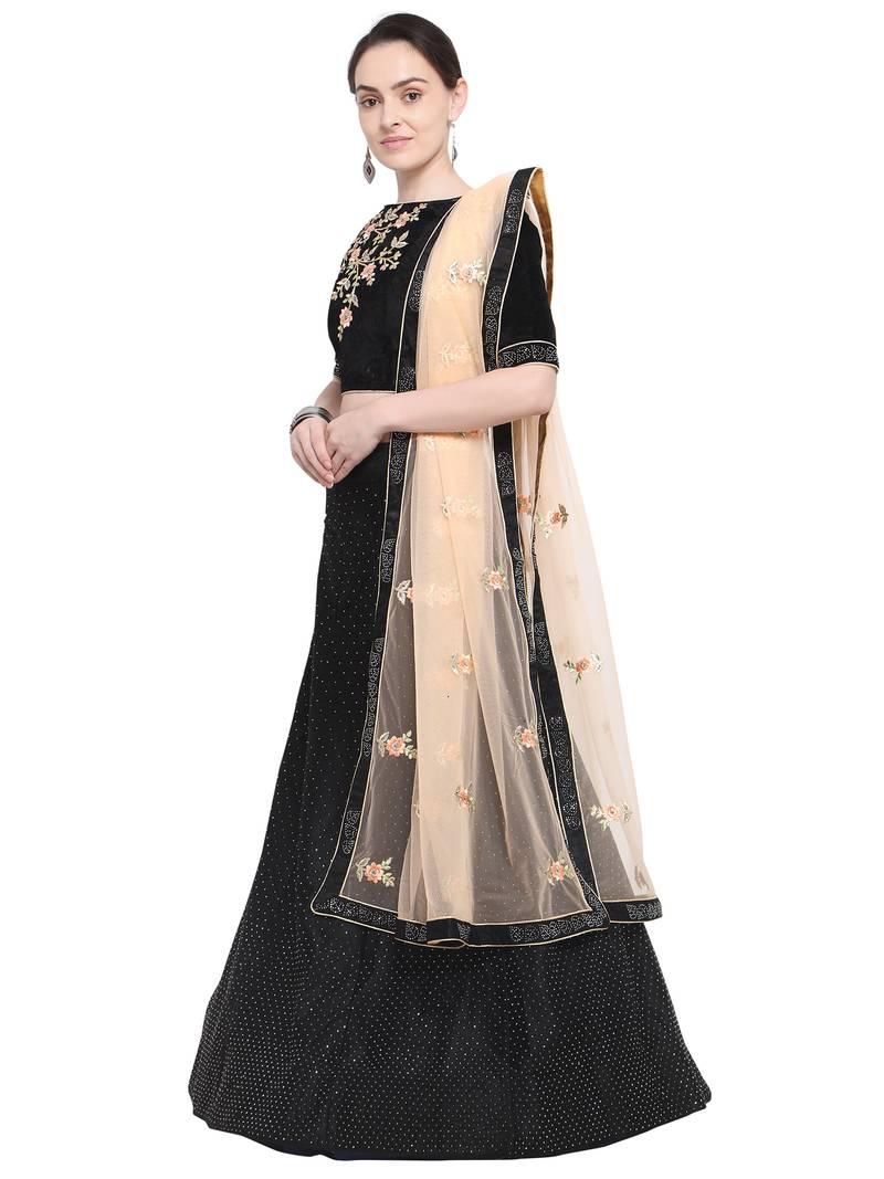 168baaf2d23 Aasvaa Black Color Velvet Embroidered Semi-Stitched Lehenga Choli ...