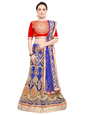 Aasvaa Blue Color Net Embroidered Semi-Stitched Lehenga Choli