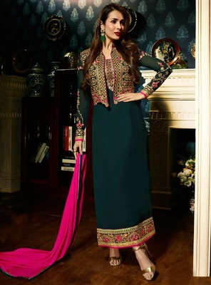 Green Partywear Jacket Style Chain stitch Work Anarkali Suit