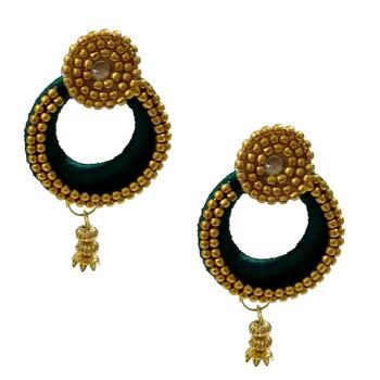 Green chandbali earrings