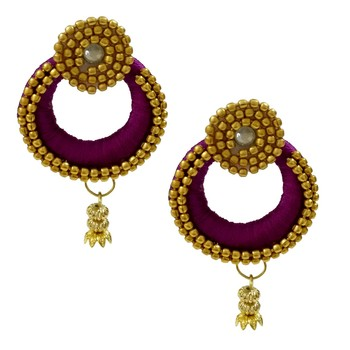 Purple Chandbali Earrings