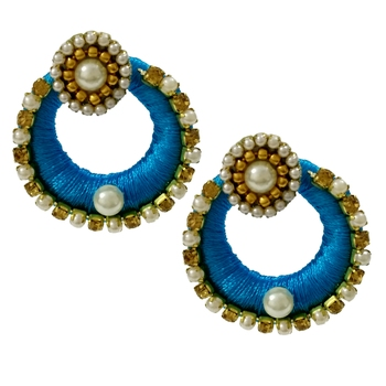 Blue Chandbali Earrings