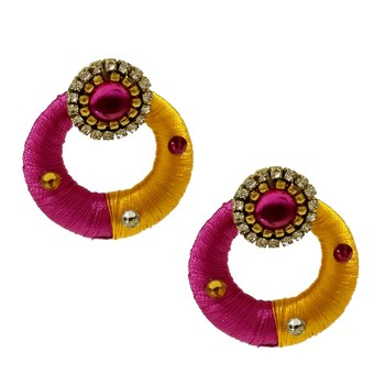 Pink chandbali earrings