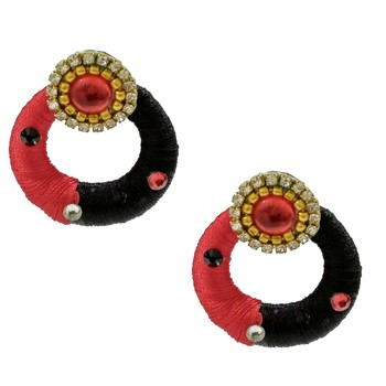 Red chandbali earrings