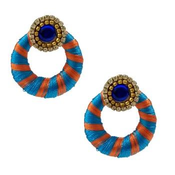 Blue Chandbali Earrings