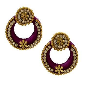Purple Chandbali Earrings