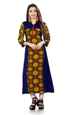 Blue printed rayon long kurti