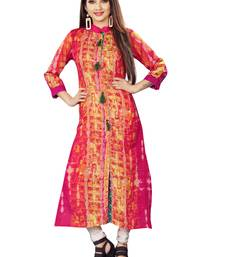 Pink printed cotton silk long kurti