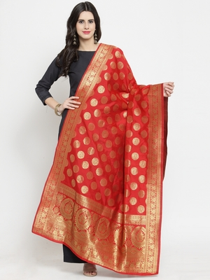 Red Banarasi Art Silk Women's Dupatta