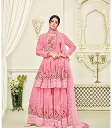 Pink Georgette Printed Women's Semi Stitched Sharara  Suit