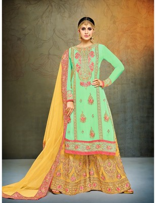 Sea Green & Yellow Georgette Heavy Embroidered Women's Semi Stitched Sharara  Suit