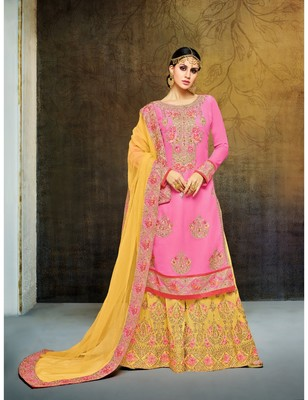 Pink & Yellow Georgette Heavy Embroidered Women's Semi Stitched Sharara  Suit