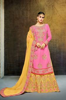 56cb85a1 Pink & Yellow Georgette Heavy Embroidered Women's Semi Stitched Sharara Suit