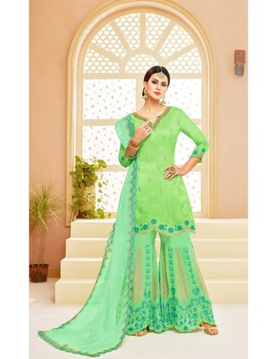 Parrot Green & Sea Green Uppada Silk Heavy Embroidered Women's Semi Stitched Sharara  Suit
