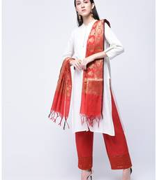 Red cotton woven dupatta stole-and-dupatta