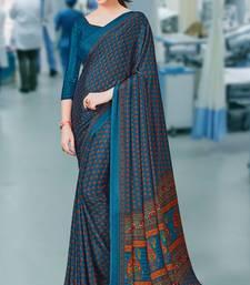 Multicolor Printed Crepe saree with blouse crepe-saree