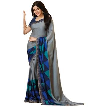 Grey art silk saree with blouse