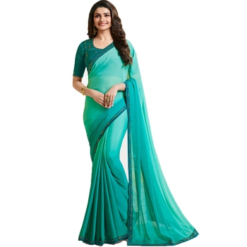Turquoise art silk saree with blouse