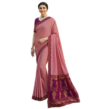 Pink art silk saree with blouse