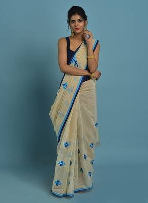 Cream and blue embroidered chanderi silk saree with blouse