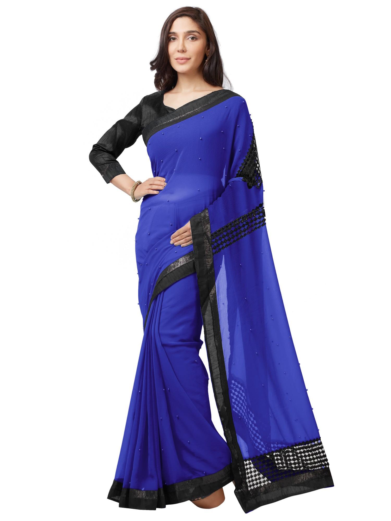 cdfe07a0b233 Royal blue embroidered chiffon saree with blouse - Mirchi Fashion - 2778147