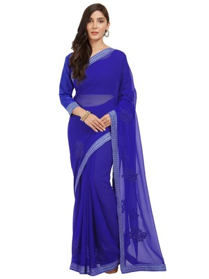 Royal blue embroidered chiffon saree with blouse