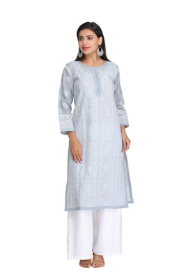 Ada Hand Embroidered Grey Cotton Lucknowi Chikan Kurti -A309057