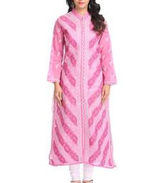 Ada Hand Embroidered Onion Pink Cotton Lucknow Chikan Kurti - A389971