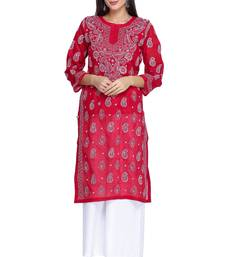 Ada Hand Embroidered Red Cotton Lucknowi Chikan Kurti     A373140