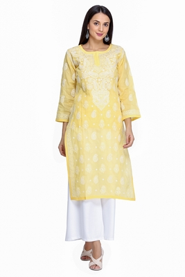 Ada Hand Embroidered Yellow Cotton Lucknowi Chikan Kurti     A373132